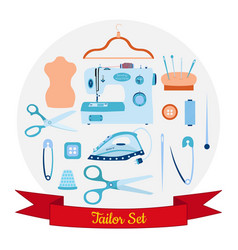 Set of objects for sewing handicraft and taylor vector