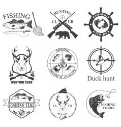 Set of vintage labels on hunting vector
