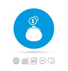 Wallet sign icon cash coins bag symbol vector