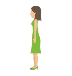 Woman standing dress left profiles short hair vector
