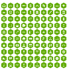 100 adventure icons hexagon green vector