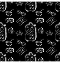Seamless pattern summer- suitcaseshells vector image