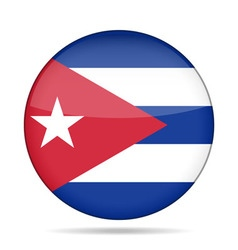 Button with flag of cuba vector