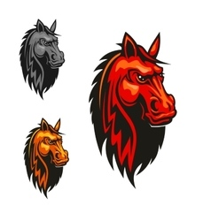 Horse stallion head and mane heraldic emblem vector