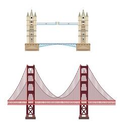 Tower and golden gate bridge vector