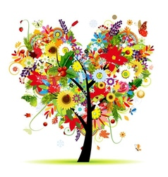 Four seasons art tree heart shape for your design vector