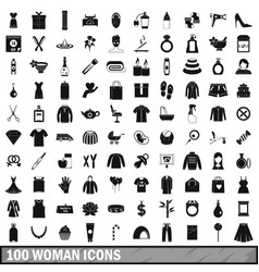 100 woman icons set simple style vector