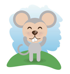 Cute mouse animal winking vector