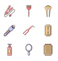 hairdressing salon icons set flat style vector image