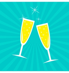 Champagne glasses sunburst card vector