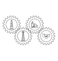 Set gear with silhouettes of the oil industry vector