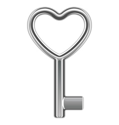 silver metal heart key shape vector image