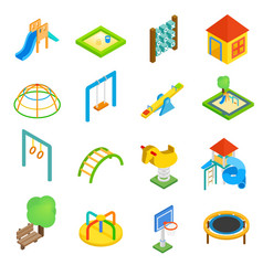 Playground isometric 3d icons vector