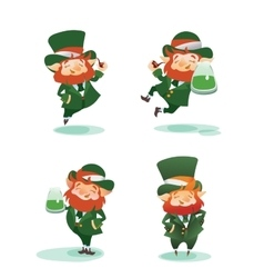 Happy st patrick day gratters cartoon leprechaun vector