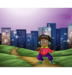 A black man dancing across the tall buildings vector