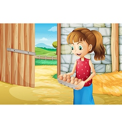 A girl holding an eggtray inside the barnhouse vector image vector image