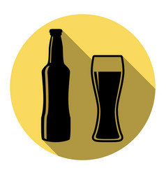 beer bottle sign flat black icon with vector image