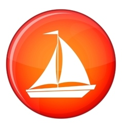 Boat with sails icon flat style vector