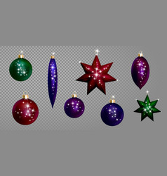 christmas ball fir toys realistic 3d star shape vector image