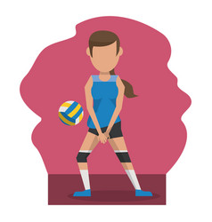 color scene with faceless woman volleyball player vector image
