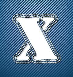 Denim jeans letter X vector image