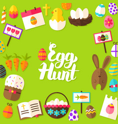 Egg hunt lettering postcard vector