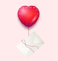 envelope heart balloon valentine day card vector image vector image