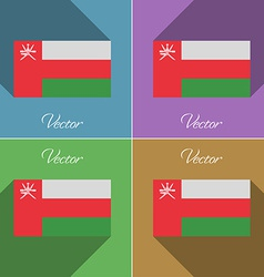 Flags Oman Set of colors flat design and long vector image