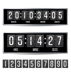 Flip countdown timer analog black digital vector