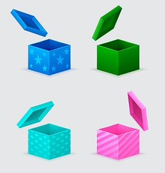 four gift boxes and flying cover over them vector image