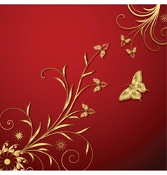 Gold floral abstraction vector