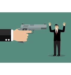 Hand with a handgun robs a businessman vector