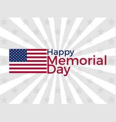 happy memorial day american flag with the text vector image vector image
