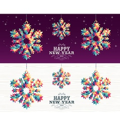 Happy new year 2016 snowflake triangle hipster vector image vector image