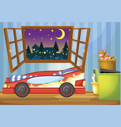 Kid bedroom with car shaped bed vector
