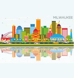 Milwaukee skyline with color buildings blue sky vector