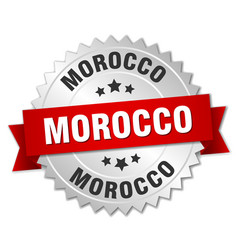 Morocco round silver badge with red ribbon vector