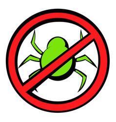 No computer virus prohibition sign icon cartoon vector
