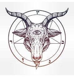 Pentagram with demon Baphomet Satanic goat head vector image vector image