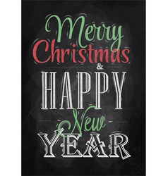 Poster Merry Christmas Happy chalk color vector image vector image