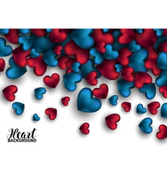 Realistic 3d colorful red and blue romantic vector