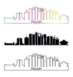 Riyadh V2 skyline linear style with rainbow vector image vector image