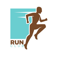 run club logotype design with running man vector image vector image