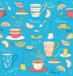 Seamless pattern with lemon tea vector