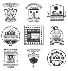 set of amuesment park labels and design vector image