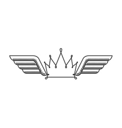 Silhouette with two wings and crown vector