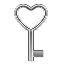silver metal heart key shape vector image