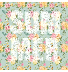 Summer Letters with Flowers vector image