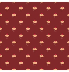 Tile pattern with cupcakes on brown background vector