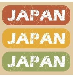 Vintage japan stamp set vector